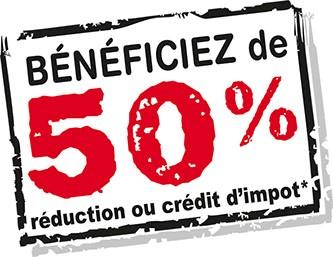 Bénéficiez de 50% de réduction ou crédit d'impôts